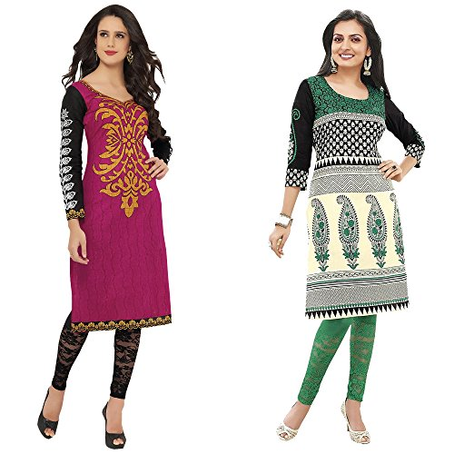 Hrinkar Pink And Green Cotton Prints With Solid Contrasts Kurti For Women...
