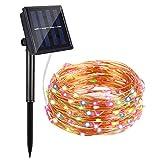 Lichterkette Außen, Bovon Solar LED Lichterkette, 100 LED, 10m, Wasserdicht IP65, Außenbeleuchtung Solarlichterkette für Gärten, Häuser, Tanzen, Halloween, Weihnachten, Hochzeiten (Mehrfarbig)