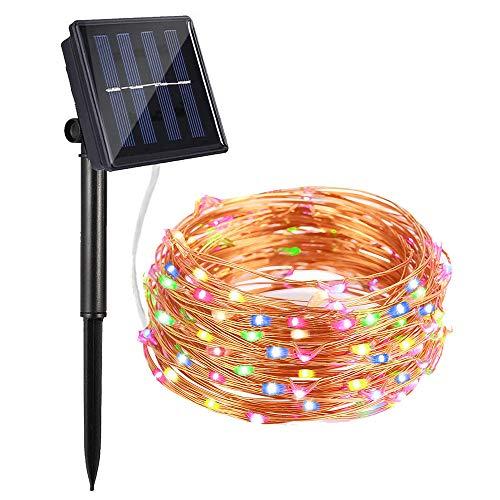 Lichterkette Außen, Bovon Solar LED Lichterkette, 100 LED, 10m, Wasserdicht IP65, Außenbeleuchtung Solarlichterkette für Gärten, Häuser, Tanzen, Halloween, Weihnachten, Hochzeiten (Mehrfarbig) -