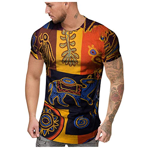 NPRADLA Herren T-Shirt Boho Lässig Sommer Afrikanischer Print Oansatz Normal geschnitten Kurzarm Workout Gym Laufen Pullover Sweatshirt Mann Tops Bluse (Kanye West Tank Top)