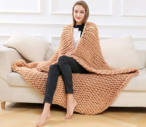 Yiyida Chunky Wolldecke Kuscheldecke Strick Decken Grau Dicke Decke Warm Handgefertigt Knitting...