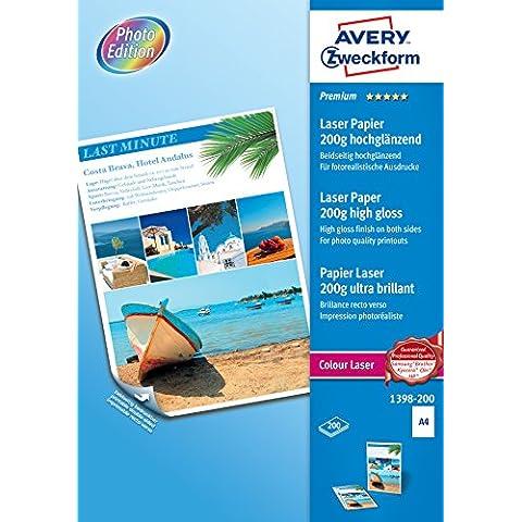 Avery España 1398-200 - Pack de 200 folios de papel fotográfico para impresoras láser, 210 x 297 mm, color