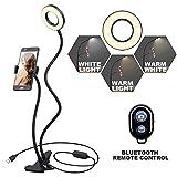 Selfie Ring Licht K&F Concept LED Ringlicht mit Handyhalterung [3 Lichtmodi] [10-stufige Helligkeit] für Liveübertragung Make-up Youtube Facebook iPhone X/8/7/6/6s plus und Android Samsung Smartphones