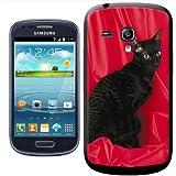 Fancy A Snuggle Coque arrière rigide à clipser pour Samsung Galaxy S3 Mini i8190 Motif chat Cornish Rex Noir