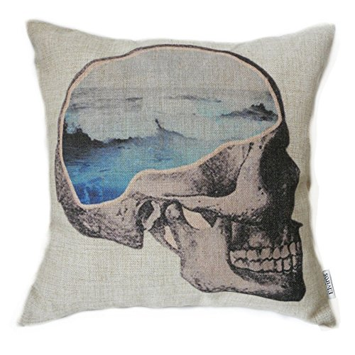 Elviros Dekorativ Baumwoll Leinen Mix Kissenbezug 45 x 45cm-Denkendes Skelett