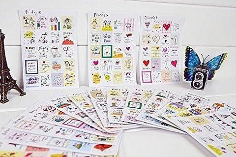 Lot de 16feuilles Sticker autocollant DIY Album photo/Agenda Papier décoratif Sticker