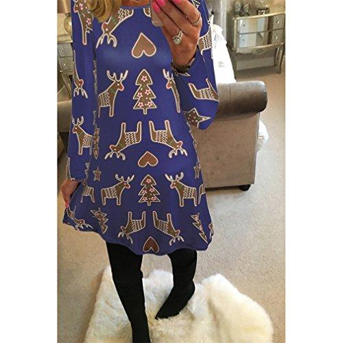 Honghu Manches Longues Noël Robes Femme,Santa Impression Dress de Swing Party de Noël Automne-hiver Bleu 3