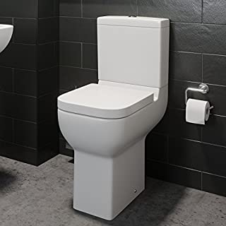 Comfort Raised Height Close Coupled Toilet Bathroom WC Modern White