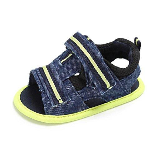 UOMOGO® sandali primi passi bambina in tela 3-24 Mesi (Età: 6~12 mesi, Verde)