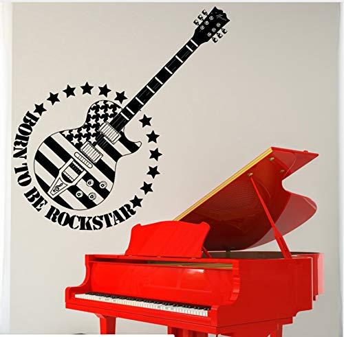 Amerikanischen Rock Gitarre Flagge Wandaufkleber Für Raummusik Hintergrundbild Kunst Decor Vinyl Aufkleber Poster Wandbilder 57X60 Cm (Gitarre Flagge)