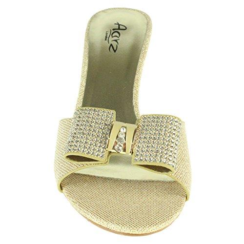 Il Di Cerimonia Slittamento Sera Diamante D'oro Metà Sandali Bootie Nuziale Calza Delle Partito Di Del Promenade Figa Signore Open Formato Sposa Toe Delle Donne xrnwBtWnpP