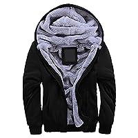Manluodanni Men's sport suit Hooded Coat Fleece tracksuit Jacket Black XL