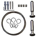 RIDDER 51000 Vorhangschnur, Seilspanngarnitur für Duschvorhänge, 3 m lang, Edelstahl