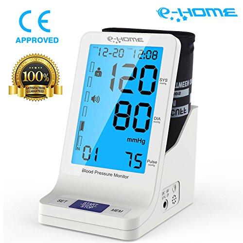 E-HOME Digitale Automatisches Oberarm-Blutdruckmessgerät mit Arrhythmie-Anzeige für präzise Blutdruckmessung