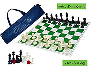 """Paramount Dealz 17""""x 17"""" Professional Vinyl Chess Set (Fide Standards)- with 2 Extra Queens/Carry Pouch, Green"""