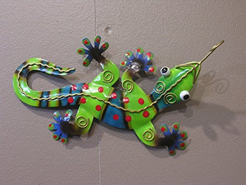 Gecko vert acier 38cm déco murale