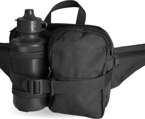 Hüfttasche mit Trinkflasche und verstellbarem Bauchgurt Farbe Black