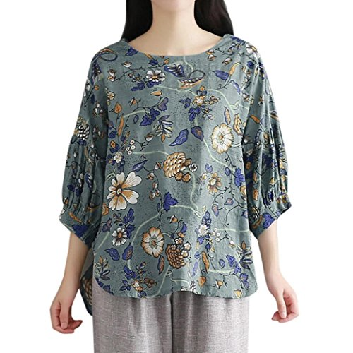 OSYARD Damen Blumendruck Bluse Sommer Party Sleeve Tops Plus Größe(EU 50/2XL, Grün)