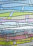 Linea Fix Static Fensterfolie Wellen Bunt 92 cm Hoch - Statische Dekorfolie Linea Fix Meterware - Glasdekorfolie Buntglas Fensterdeko Sichtschutz