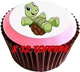 Confezione di 12 topper, Decorazioni commestibili per dolci, A forma di tartaruga felice, Diametro: 38 mm, Immagine n° 127