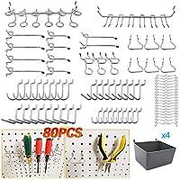 SEAAN Surtido de ganchos de tablero con compartimientos de tablero, cerraduras de clavija, para organizar varias herramientas (80 piezas)