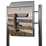 BANJADO Edelstahl Briefkasten groß, Standbriefkasten freistehend 126x53x17cm, Design Briefkasten mit Zeitungsfach Motiv Zaun am Meer
