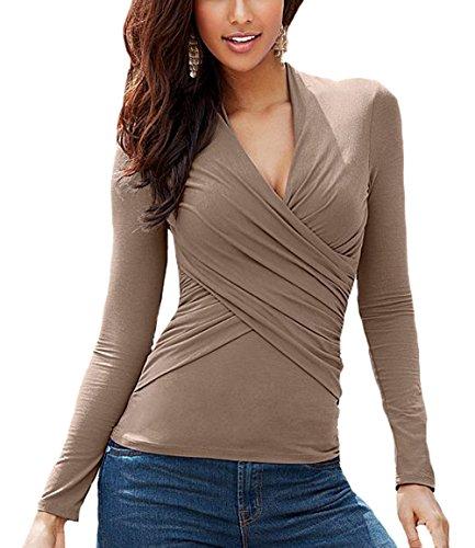 U8Vision - T-shirt de sport - Cache-cœur - Femme Beige