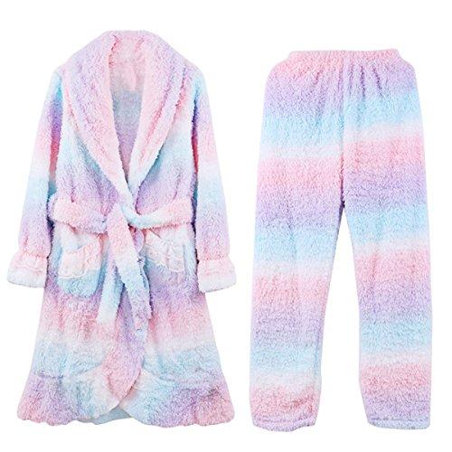 La Signora Caldo Autunno E In Inverno Flanella Camicia Da Notte Di Pizzo Bavero Pantaloni Tuta rainbowcolors