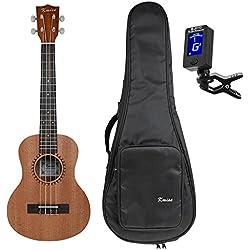 Kmise sólido ukelele Tenor tapa de pícea 26inch Hawaii guitarra palisandro Back puente w/bolsa y el sintonizador, 26 inch F
