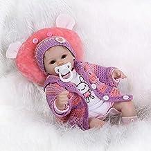 Nicery 18inch Renacido de la muñeca de silicona suave vinilo 45cm magnética Boca realista Niño Niña de juguete rojo almohada ojos abiertos Reborn Doll