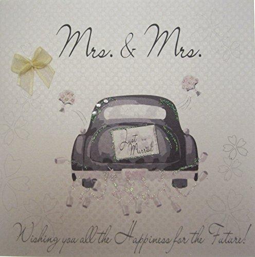 WHITE COTTON CARDS Frau & Frau handgemachte Hochzeit Karte (Partnerschaft, Auto)