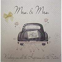 """White Cotton Cards - Tarjeta de felicitación por boda (hecha a mano), diseño con coche e inscripción """"Mrs & Mrs"""""""