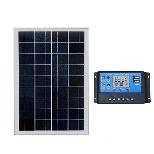 ECOWORTHY 25-W-Kits für tragbare Solarpanels zum Laden von 12-V-Batterien: 25-Watt-Solarmodul und 20-A-PWM-Controller