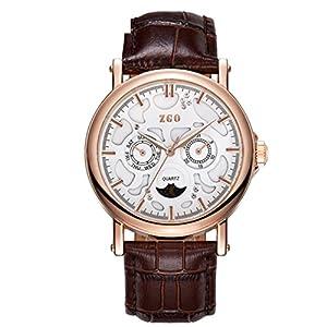 Correa de cuero de calidad rose gold reloj de cuarzo de luna/Blu-ray doble calendario medio tercer ojo reloj-M marca ZHANG Maid