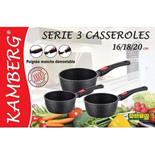 Kamberg - 0008038 - Set 3 Casseroles 16 / 18 / 20 cm - Manche Amovible - Fonte d'Aluminium - Revêtement type pierre - Tous feux dont induction - Sans PFOA