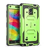 Coque Samsung Galaxy Note 4 - Housse i-Blason Armorbox couverture protectrice de double couche [pour Samsung Galaxy note 4] avec couvercle protecteur d'ecran integre / housse resistante aux chocs (vert)