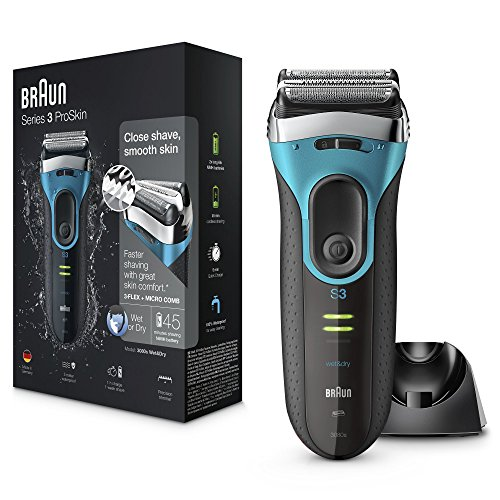 Braun Series 3 ProSkin 3080s Wet & Dry Rasoir Barbe Homme; Base de Charge; Bleu