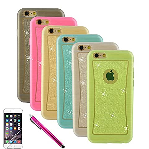 iPhone 6 Plus Coque,[Bling Style] Bundle with 6 Pack TPU Silicone Coque [Ultra Slim Cover] Glitter Jelly Translucent Soft TPU GEL Protective Cover Rubber Shell Skin Assorted Color [Pink, Grey, Golden, Blue,Green, Clear] pour Apple iPhone 6 Plus (5.5