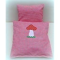 Bettzeug für Puppenbett, Kissen und Decke für Puppenwagen Puppenbettwäsche 2-tlg.
