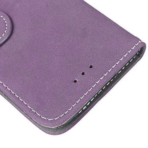 FUBAODA PU Cuir Folio iPhone 7 Plus Case Coque Etui Étui Portefeuille Case Cover [Skin-friendly][Suède][Givré] Wallet avec Stand support Housse de Protection pour Apple iPhone 7 Plus (Violet) Violet