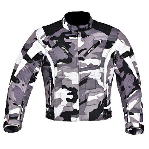 NORMAN Herren Motorrad Motorrad Jacke Wasserfeste Textil mit CE verstärkt camo - Camouflage, X-Large - Taille Befestigung
