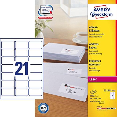AVERY Zweckform L7160-100 Adress-Etiketten (A4, 2.100 Stück, 63,5 x 38,1 mm, 100 Blatt) weiß