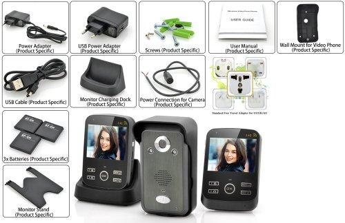 Safeguard Duo-Intercom Wireless Video/Bewegungserkennung/2Monitore 3,5/Reichweite 300m/Funktion Foto und Video -