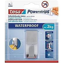 tesa Powerstrips Haken wasserfest / Selbstklebende Halterung aus rostfreiem Edelstahl für Dusche, Bad und Küche / Bis 2 kg / Spurlos entfernbar / 1 Stück