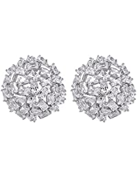 Shaze Brass Silver Rhodium-Plated Cluster Flower Earring for Women