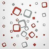 WANDfee® Wandtattoo 40 Vierecke FARBWUNSCH Farbe rot grau zweifarbig bunte moderne Wanddeko selbstklebende retro Cubes Quadrate Wandaufkleber Wandsticker Fliesenaufkleber Dekoration Deko Aufkleber
