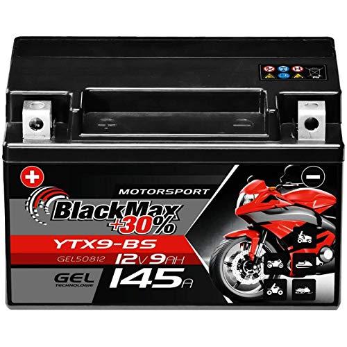 BlackMax YTX9-BS GEL Motorradbatterie 12V 9Ah CTX9-BS Batterie GTX9-BS ETX9-BS