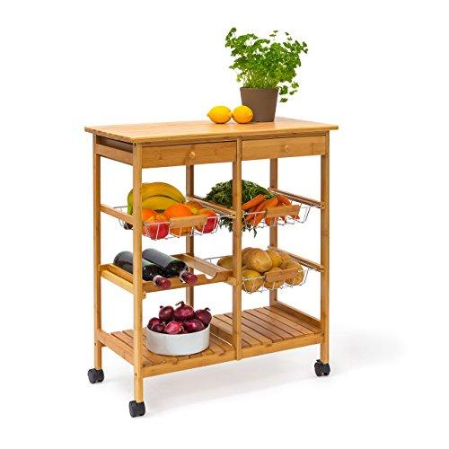 Relaxdays Desserte de cuisine JAMES XXL meuble d'appoint îlot chariot de cuisine à roulettes en bambou paniers amovibles HxlxP : 80 x 67 x 37 cm, nature