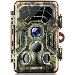 Campark Caméra de Chasse HD Étanche IP66 Vision Nocturne Infrarouge Activée par Le Mouvement Grand Angle 120 ° pour la Surveillance de la Chasse et la Sécurité à la Maison