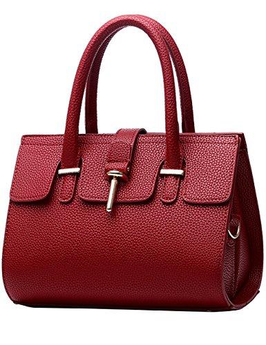 Menschwear Leather Tote Bag lucida PU nuove signore borsa a tracolla Nero Vino Rosso